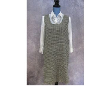 Harve Benard Houndstooth Wool Sheath Dress 8